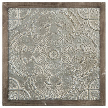Embossed Metal and Wood Wall Art