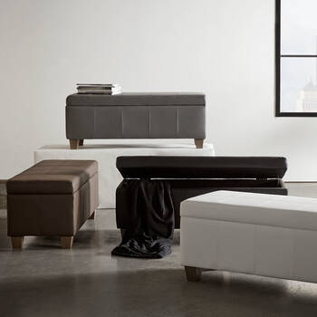 Faux Leather Storage Bench