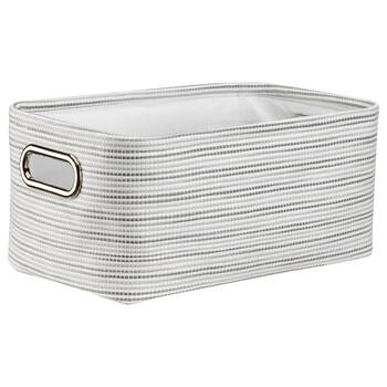 Two-Toned Striped Storage Basket