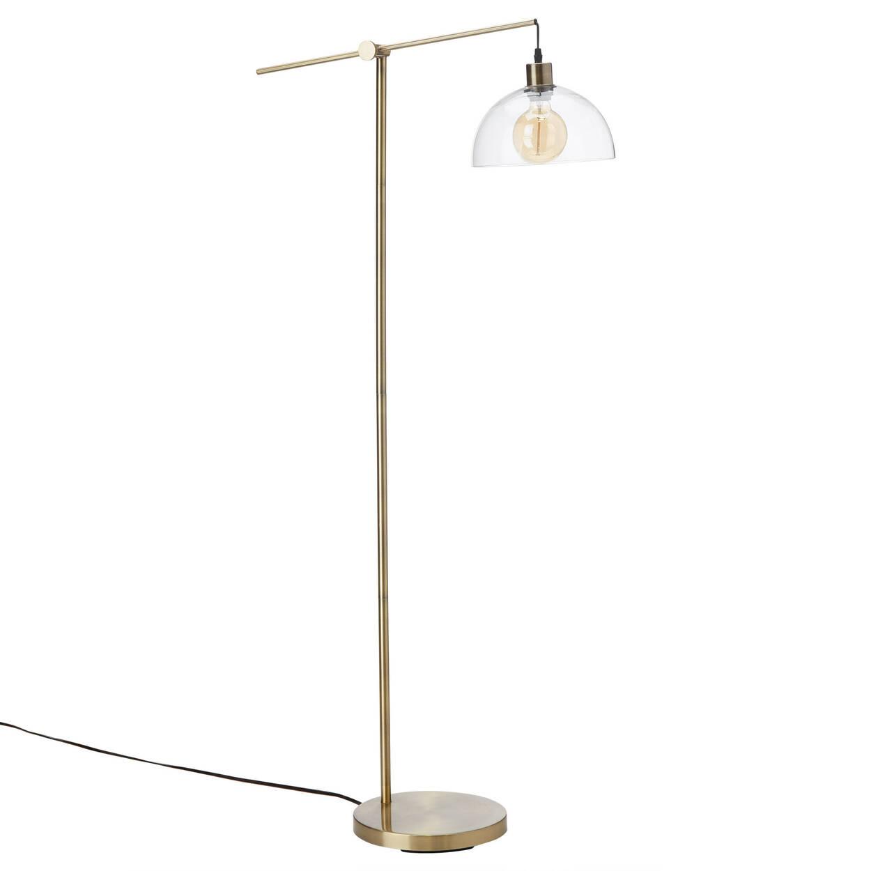Lampe sur pied en verre avec base en métal doré