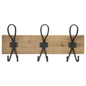 Set of 3 Metal Wall Hooks on Wooden Plaque
