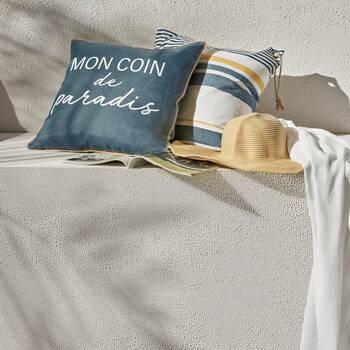 "Happy Water-Repellent Decorative Pillow 18"" X 18"""