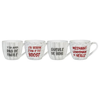Set of 4 Quebec Expressions Mugs
