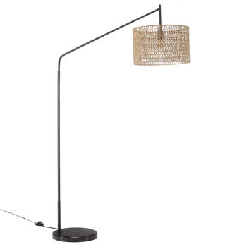 Floor Lamp with Hemp Rope Shade and Marble Base