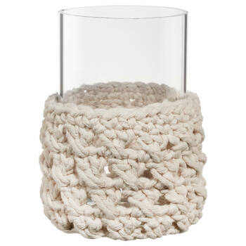 Glass and Macramé Candle Holder