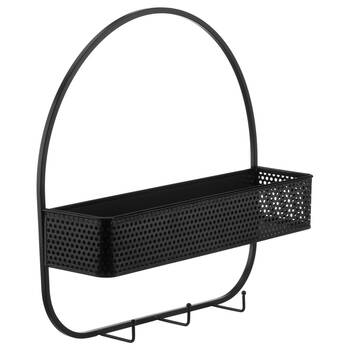 Black Metal Wall Organiser with Hooks and Basket