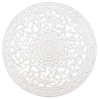 Round Carved Wood Wall Art