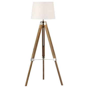 Lampe sur pied trépied en bois