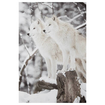 Tableau imprimé de loups blancs