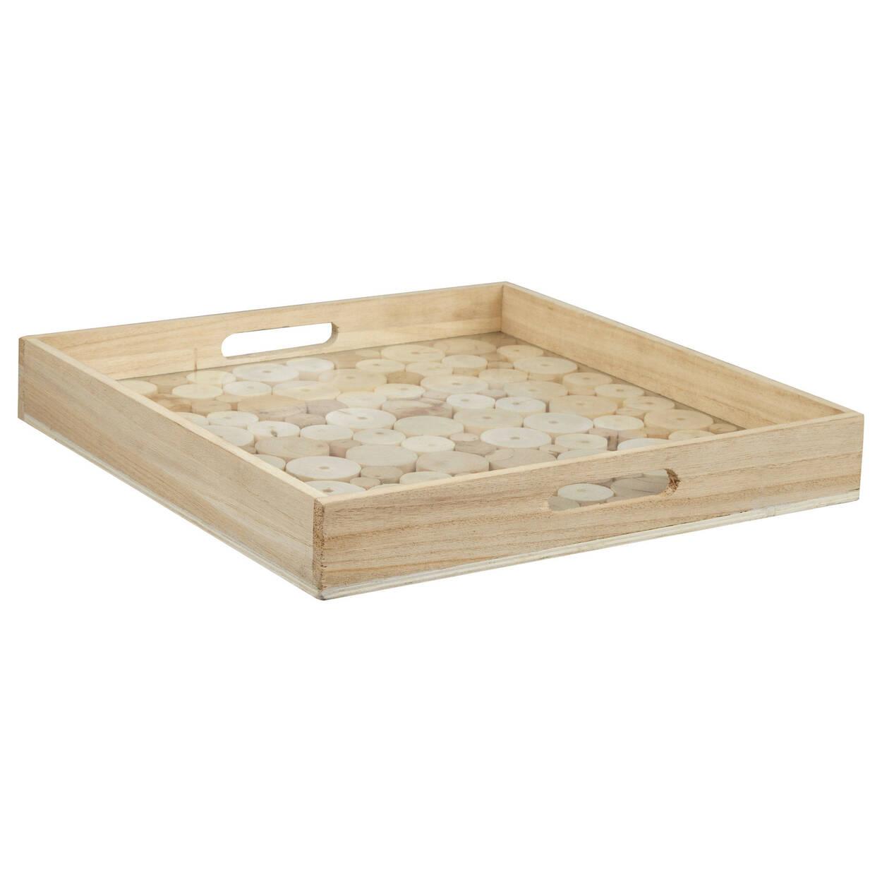 plateau de service en petites rondelles de bois. Black Bedroom Furniture Sets. Home Design Ideas