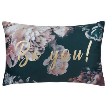 """Bilingual Floral Decorative Lumbar Pillow 13"""" x 20"""""""