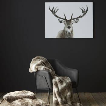 """Deer Faux Fur Decorative Pillow 20"""" X 20"""