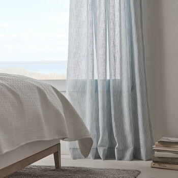 Elika Striped Rod Pocket Sheer Curtain
