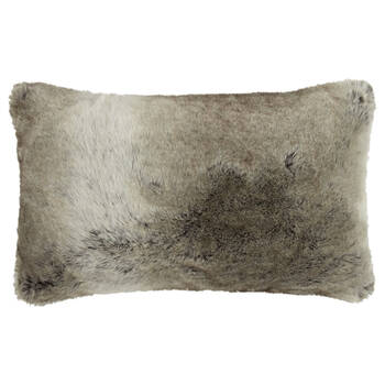 "Wolf Faux Fur Decorative Lumbar Pillow 14"" X 22"""