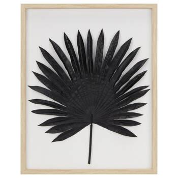 Framed 3D Tropical Black Leaf