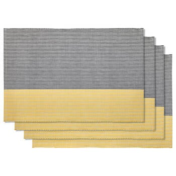 Set of 4 Striped Fabric Placemats