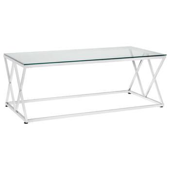 Table basse en verre trempé avec pieds courbés en métal