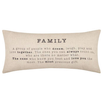 "Family Decorative Lumbar Pillow 15"" X 33"""