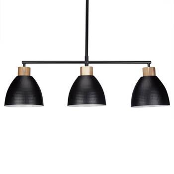 Lampe suspendue en bois et en métal à 3 ampoules