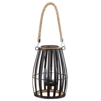 Metal, Wood and Rope Lantern Candle Holder