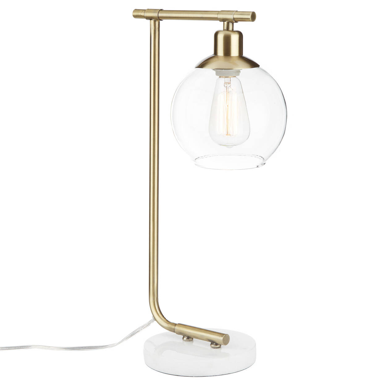 Lampe de table en métal, en marbre et en verre