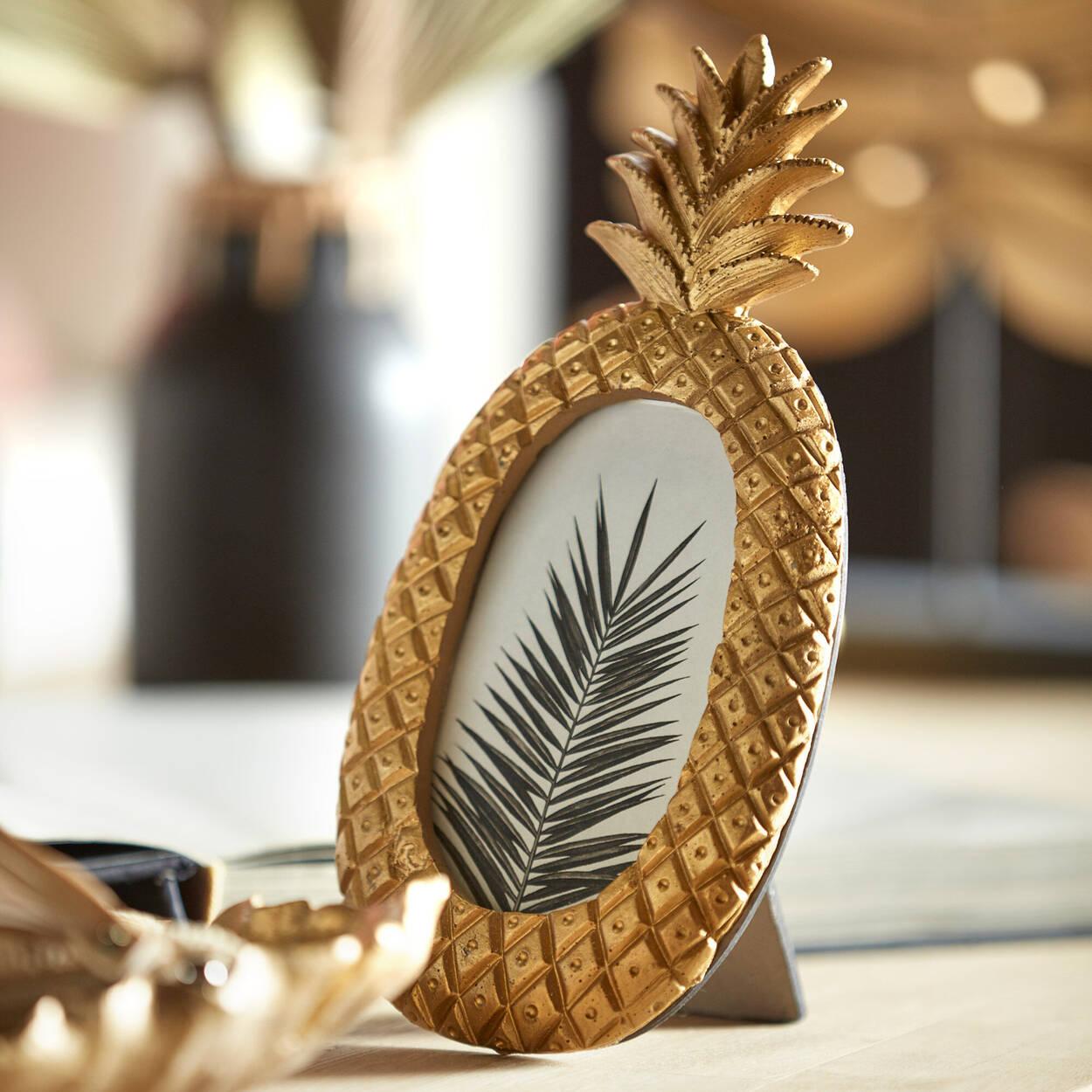 Cadre pour photo ananas doré