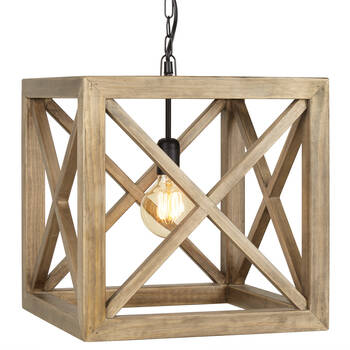Wooden Cube Pendant Ceiling Lamp