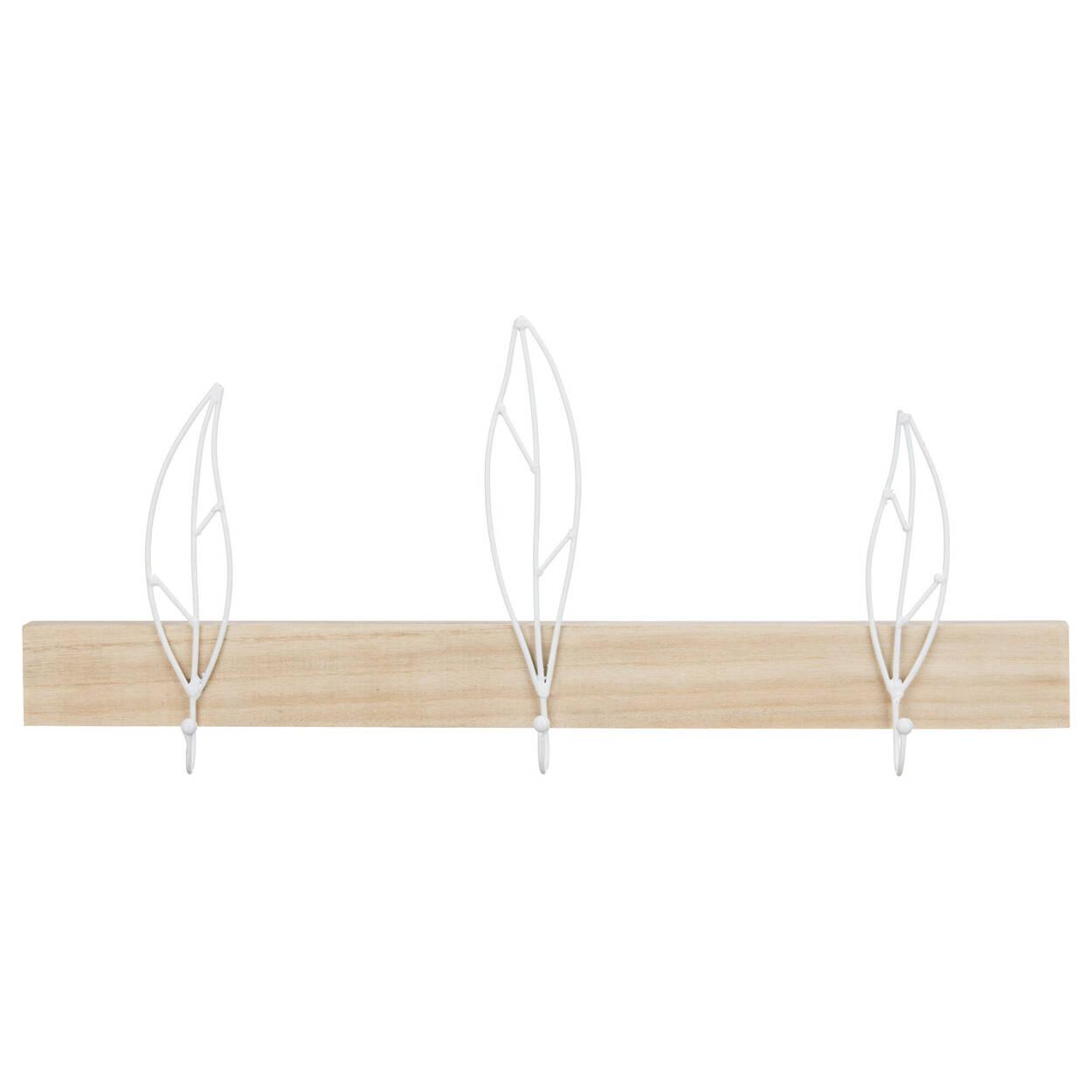 Set of 3 Leaf Hooks on Wall Plaque