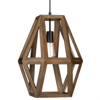 Lampe suspendue géométrique en bois