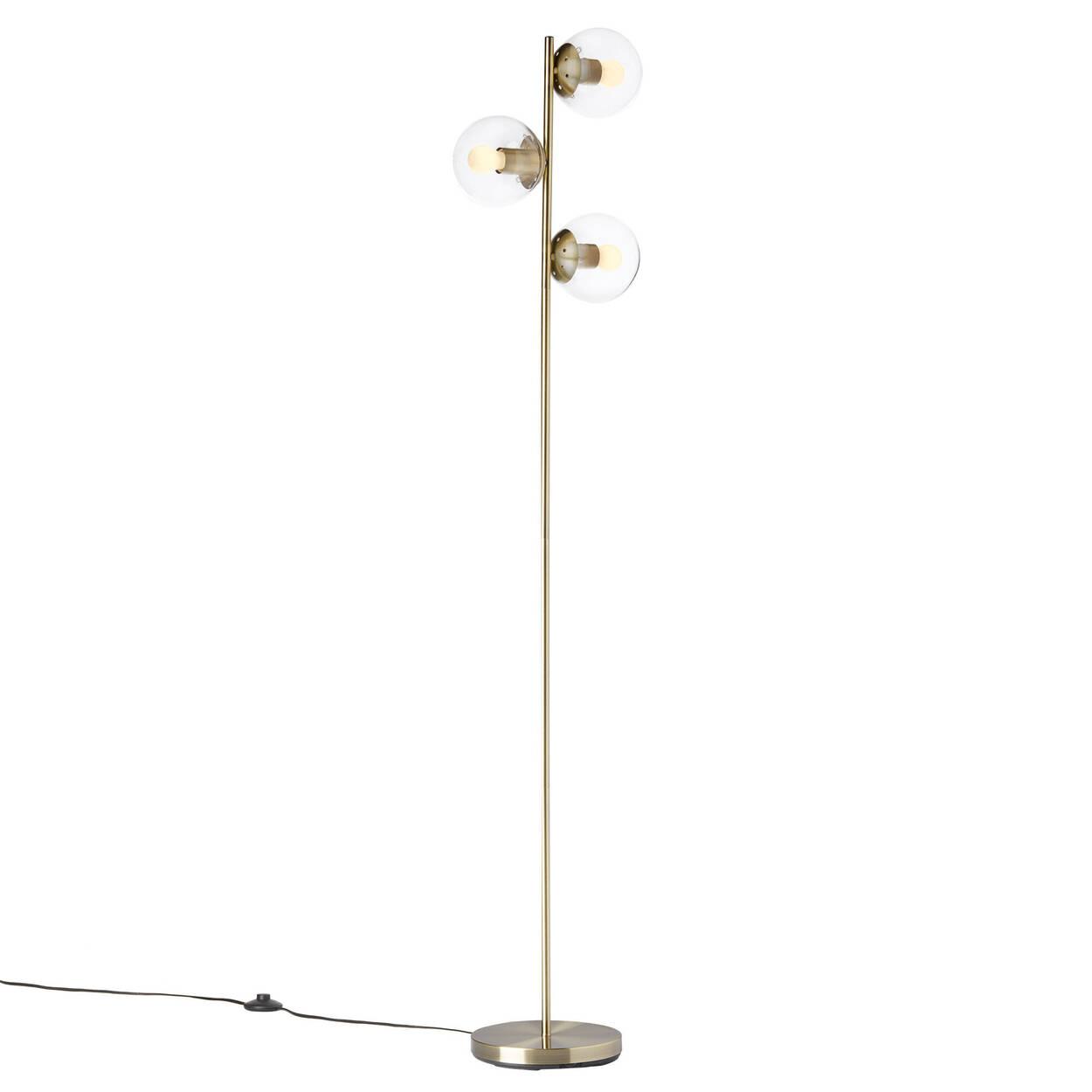 Lampe sur pied avec base dorée