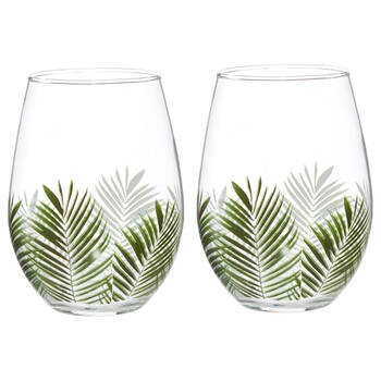 Set of 2 Tropical Wine Glasses