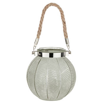 Glass Lantern with Rope Handle