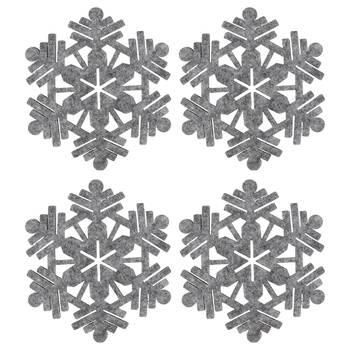 Set of 4 Snowflake Felt Coasters