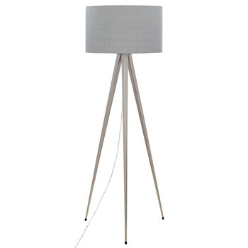 Metal and Linen Tripod Floor Lamp