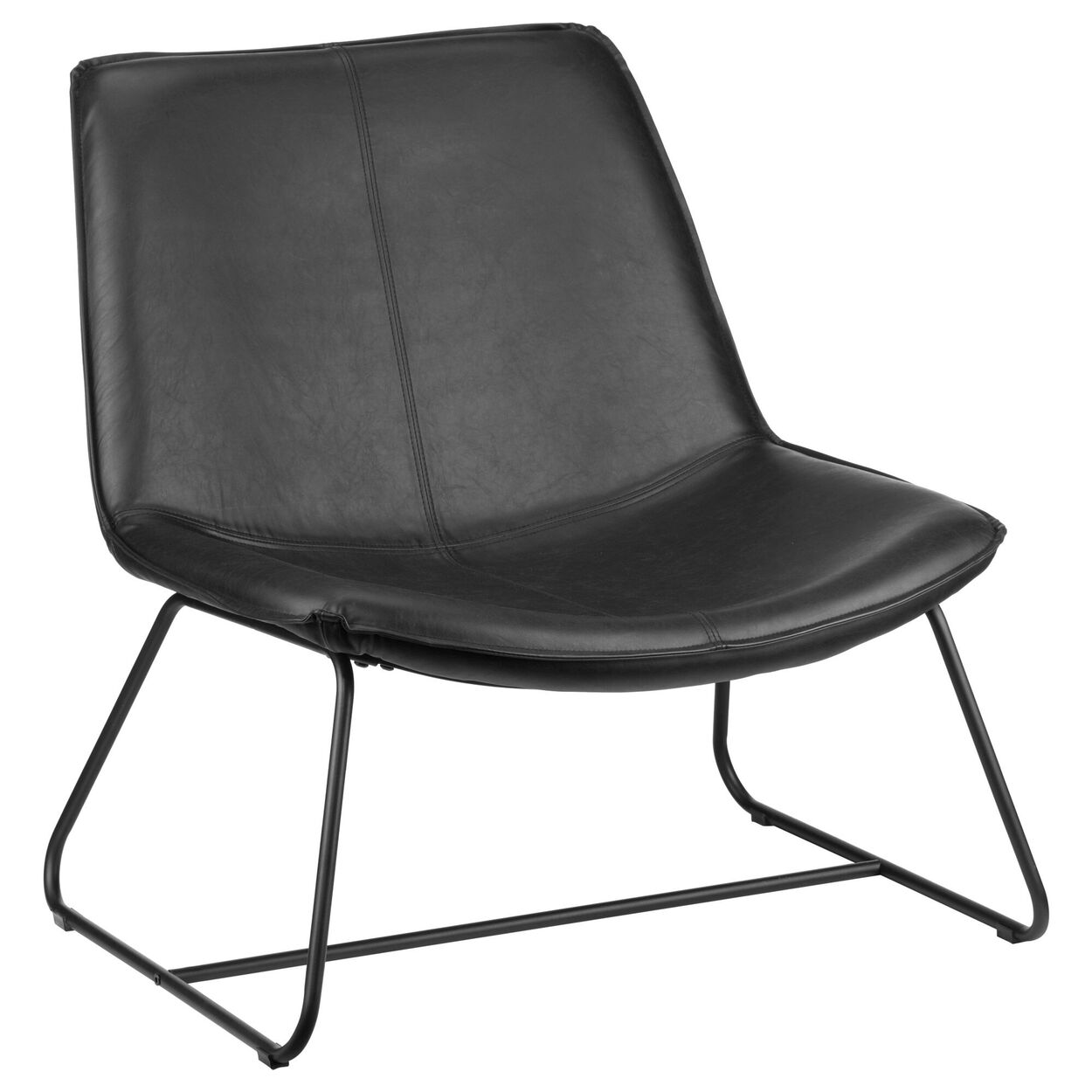 Faux Leather and Metal Lounge Chair