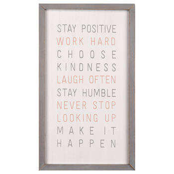 Stay Positive Typography Framed Art