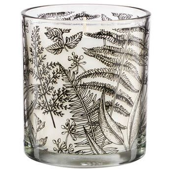 Candle in Leaf-Patterned Glass Container