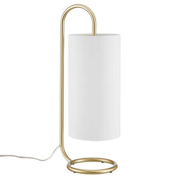 Gold Metal and Fabric Table Lamp