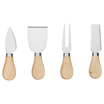 Set of 4 Cheese Knives with Wood Handle