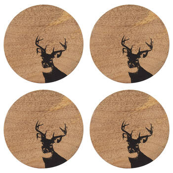 Set of 4 Deer Disk Coasters
