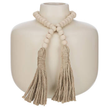 Natural Ceramic Vase with Wood Pearls and Tassels
