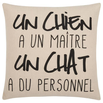 "Chien & Chat Decorative Pillow Cover 18"" X 18"""