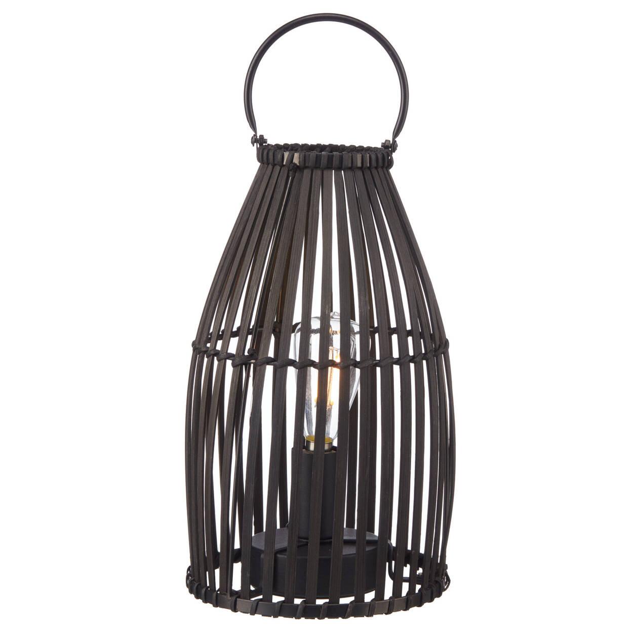 Lampe de table lanterne en rotin noir