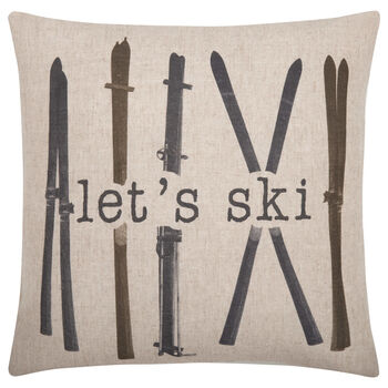 "Let's Ski Typography Decorative Pillow 19"" X 19"""