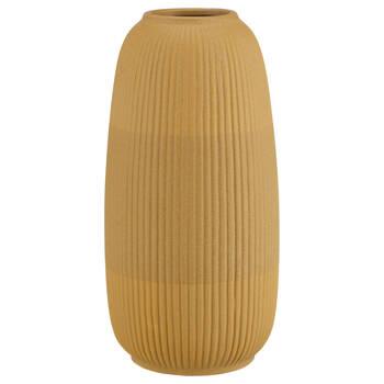 Stripe Textured Yellow Ceramic Vase