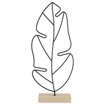 Black Wire Leaf on Wooden Stand