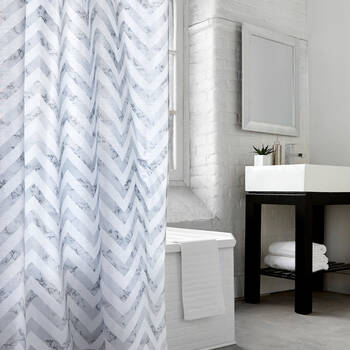 Grey Chevron Shower Curtain