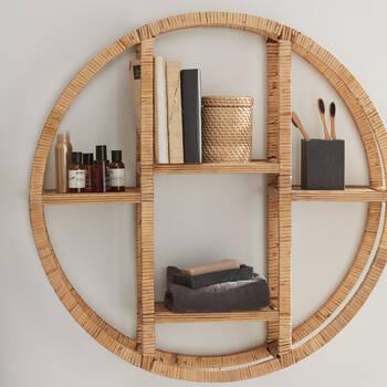 Rattan and Wood Wall Shelf