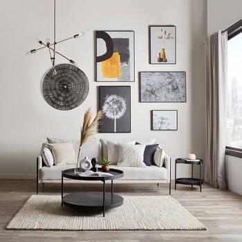 Black & White Dandelions Framed Canvas
