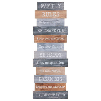 Family Rules Wood Wall Art